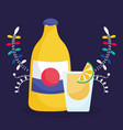 tequila shot lime mexican food traditional vector image