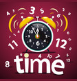time design with numbers and ringing alarm clock vector image