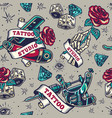 vintage tattoo seamless pattern vector image vector image