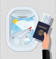 window from inside the airplane vector image vector image