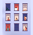 windows with neighbors doing daily things in their vector image vector image