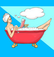 woman having bath in bathtub with book and wine vector image