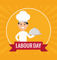 young chef with tray server vector image