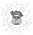 Yummy burger vintage label vector image