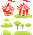 Cute cartoon tent show circus with set of banners vector image