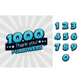 1000 followers thank you for social vector image vector image