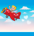 airplane with cupid theme image 4 vector image vector image