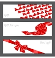 Banners with red satin gift bows and ribbons vector image
