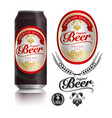 beer label visual on black drinks can 500ml vector image vector image
