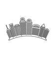 black contour city landscape with buildings vector image vector image