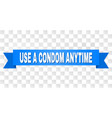 blue stripe with use a condom anytime title vector image vector image