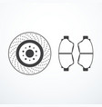 brake disk and brake pads vector image