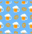 bretzel and mug beer with foam traditional vector image vector image