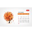 calendar 2012 september Art tree design vector image vector image