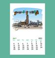 calendar sheet philadelphia april month 2021 year vector image vector image