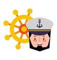captain sailor face cartoon portrait vector image
