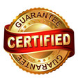 certified golden label with ribbon vector image