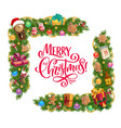 christmas gifts and xmas tree garland frame corner vector image vector image