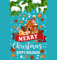 christmas holiday ginger cookie greeting poster vector image vector image