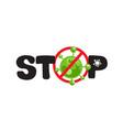 coronavirus pandemic stop covid-19 outbreak logo vector image vector image