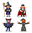 costume halloween children masquerade party kids vector image