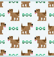 cute cartoon brown 8bit dog with text seamless