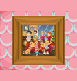 family in picture frame vector image vector image