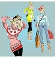 Fashion models in sketch style fall winter vector image vector image