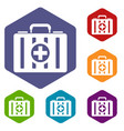first aid kit icons set vector image vector image