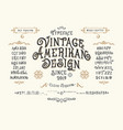 font vintage american design vector image vector image