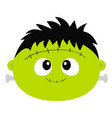 frankenstein zombie monster round face icon happy vector image