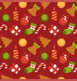 gift box sweet cane and christmas decorations vector image