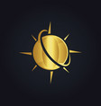 Globe planet arrow gold logo vector image