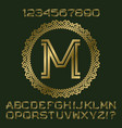 golden angular letters and numbers of two stripes vector image
