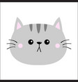 gray cat sad head face silhouette icon cute vector image vector image