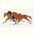 group horses running cartoon graphic vector image