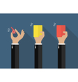hand businessman showing a whistle yellow card vector image vector image