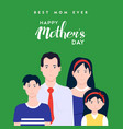 happy mothers day family typography vector image