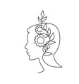 human head with plant and gears one line drawing vector image