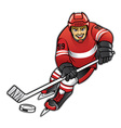 ice hockey player dribbling vector image vector image