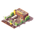 isometric low poly warehouse building vector image vector image