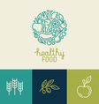 logo design template with fruit and vegetable vector image vector image