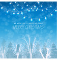 merry christmas card on winter forrest landscape vector image vector image