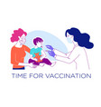mother with a child at doctor time vector image