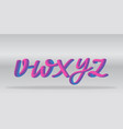 neon gradient alphabet realistic letters v-z vector image vector image