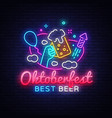 oktoberfest greeting card oktobefest neon sign vector image vector image