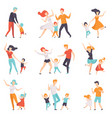 parents dancing with their children set kids vector image vector image