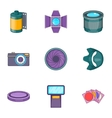 Photography equipment icons set cartoon style vector image vector image