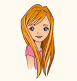 pretty teenager girl portrait vector image vector image