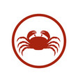 red circular ornament with crab inside vector image vector image